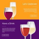 Lets Celebrate have Drink Set of Posters with Text. Lets celebrate have a drink set of posters with place for text, vector illustration of glassware with winery Royalty Free Stock Photography