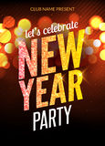 Lets celebrate New Year party design flyer template with multicolored bokeh lights background. Holiday festive xmas. Poster Royalty Free Stock Photography