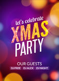 Lets celebrate XMAS party design flyer template with multicolored bokeh lights background. Holiday festive christmas poster.  Royalty Free Stock Image