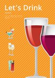 Lets Drink Advertisement Poster with Glass of Wine. Lets drink advertisement poster with glasses of red wine closeup, vector illustration isolated on orange Royalty Free Stock Images