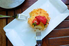 Lets eat baked cheese cake together Royalty Free Stock Images