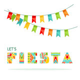 Lets Fiesta ornate lettering and party attribute. Celebration phrase and garlands with colorful flags. Vector illustration royalty free illustration