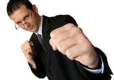 Lets fight!. Tough business.Focused on the man,the right fist is out of focus.(isolated stock photography