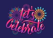 Lets firar bakgrund med färgbokstäver och fyrverkerier Royaltyfri Bild