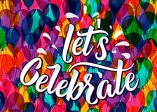 Lets firar bokstävertext på färgballongbakgrund Arkivbild