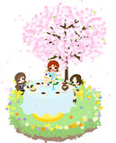 Café der Kirsche Blossom-3 Stockfotos