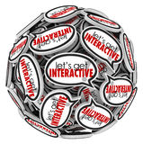 Lets Get Interacive Speech Bubbles Group Communication. Let's Get Interactive words in a sphere or ball of speech bubbles to illustrate group communication and Stock Image