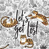 Lets get lost. Quote. Contour tropical print with orange tigers in the jungle. Vector illustration. Lets get lost. Quote. Contour floral print with cartoon Stock Image