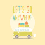 Lets go anywhere. Van with a lot of luggage. Stock Photos