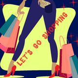 Lets go for shopping. Lady with bags Stock Photos