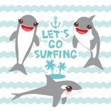 Lets go surfing Cartoon dolphin set. Kawaii with pink cheeks and positive smiling on blue waves sea ocean background. banner templ. Ate, card design. Vector Royalty Free Stock Image