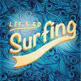 Lets go surfing typographic design Stock Photos