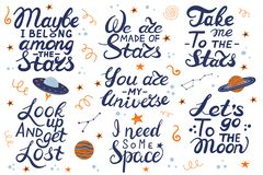 Lets go to the moon. Hand drawing lettering for a poster on the theme of space. royalty free illustration