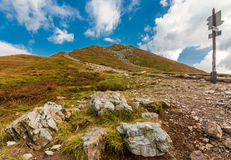 Lets go to top of the peak. Photo was taken in High Tatras mountains on Polish side near Kasprowy Wierch (peak) trail is leading to Swinica peak,PL royalty free stock photo