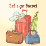 Lets Go Travel Hand Drawn Design. Summer Vacation Background with Luggage and Bags. Vector illustration Stock Photography