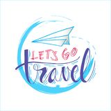 Lets go travel. Hand lettering with paper plane Stock Photos