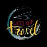 Lets go travel. Hand lettering with paper plane Stock Photo