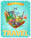 Lets Go Travel Poster Royalty Free Stock Photography