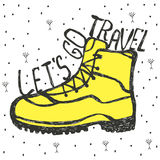 Lets go travel. Vintage vector illustration. Hand drawn style. RThe shoe illustration with quote Lets go travel. Shirt print, inspirational and motivational royalty free illustration