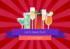 Lets Have Fun Drink Right Manual Web Page Design. With decorated glasses with alcoholic cocktails. Vector illustration on red background with rays Stock Photos