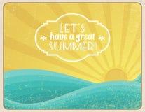 Lets Have a Great Summer. Grunge framed sunset on the ocean with banner vector illustration