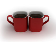 Lets have some coffee. Coffee love - two kissing cups Stock Photos