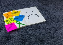 Mental Health Awareness Post It With Ribbon. Lets join our voices to end the stigma Royalty Free Stock Image