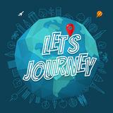 Lets journey concept. The Earth with logo Stock Photos