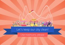 Lets Keep Our City Clean, Vector Illustration. Lets keep our city clean, use trash cans please, poster of amusement park in dirt with junk and wastes, people and Royalty Free Stock Photography
