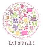 Lets knit. Knitting and needlework sign stock illustration