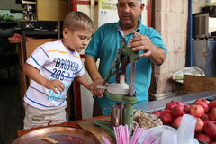 Lets machen leckeren Granatapfelsaft! Lizenzfreies Stockfoto