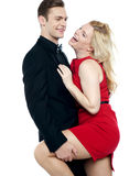 Lets make some love. Young caucasian couple having fun Royalty Free Stock Photos