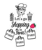 Lets para ir comprar em Paris Ilustração isolada vetor da forma Menina com o café a ir colocar, saco da loja, chapéu, bolinho de  ilustração royalty free