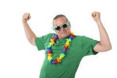 Lets party. Funny male with sunglasses isolated over white Royalty Free Stock Photography