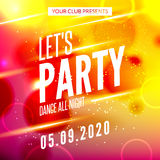 Lets party design poster. Night club template. Music party invitation from DJ.  vector illustration