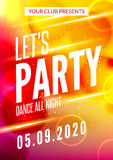 Lets party design poster. Night club template. Music party invitation from DJ Stock Photography