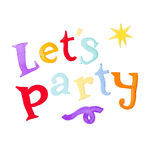 Lets party text on white background Royalty Free Stock Photography