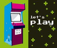 Lets play arcade. Colorful vector illustration graphic concept Royalty Free Stock Images