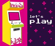 Lets play arcade. Colorful vector illustration graphic concept Stock Images