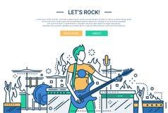 Lets rock - line design website banner Stock Photography