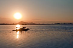 Lets sail in Paradise. Sunset over  Dal  lake stock image