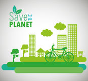 lets save the world environmental city and bike design Royalty Free Stock Image