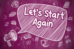 Lets Start Again - Doodle Illustration on Purple Chalkboard. Stock Photography