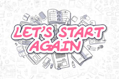 Lets Start Again - Doodle Magenta Word. Business Concept. Stock Photos
