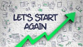 Lets Start Again Drawn on White Brickwall. 3d. White Brickwall with Lets Start Again Inscription and Green Arrow. Enhancement Concept. Lets Start Again stock illustration