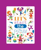 Lets start party poster vector illustration. Funny clown characters and different circus accessories. Cartoon clown stock illustration