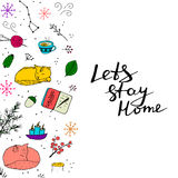 Lets stay home colorful poster. Cute doodles with cat, fox, candle, tea, snow, forest elements Stock Photos