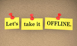 Lets Take it Offline Communication Sticky Notes Talk Later 3d Il Stock Image