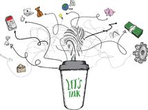 Lets talk concept on coffee cup Stock Photography