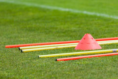 Lets train football. Proffesional football training with boundary poles Stock Photo